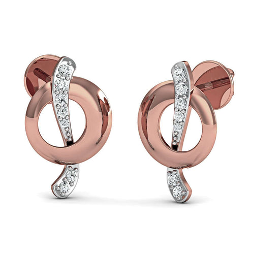 Hand-carved 10kt Rose Gold and Diamond Pave Earrings-Diamoire Jewels-JewelStreet US