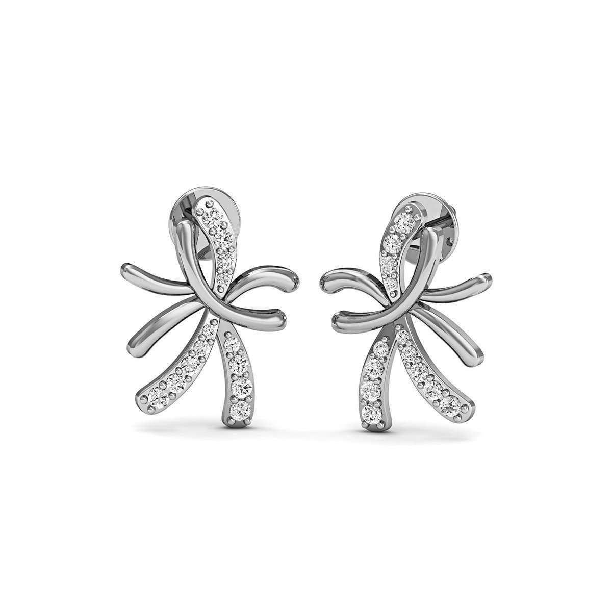 10kt White Gold and Diamond Floral Pave Earrings-Diamoire Jewels-JewelStreet US