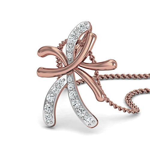 Hand-carved 18kt Rose Gold and Diamond Pendant-Diamoire Jewels-JewelStreet US