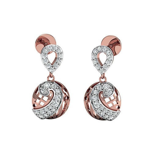 10kt Rose Gold and SI3 Premium Round Shape Diamonds in a Pave Earrings-Diamoire Jewels-JewelStreet US