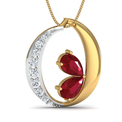 10kt Yellow Gold Earrings With Pear Cut Rubies and Round Shape Diamonds-Diamoire Jewels-JewelStreet US