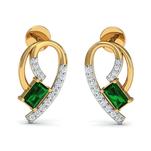 Hand-carved 10kt Yellow Gold Prong Emerald Earrings with Diamonds-Diamoire Jewels-JewelStreet US
