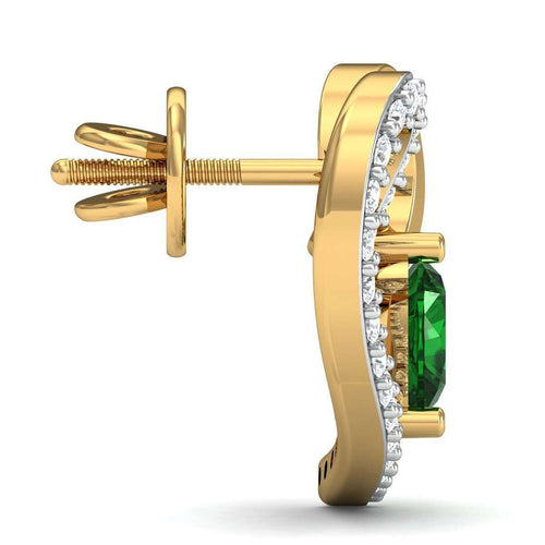 Heart Cut Emerald and Diamond Earrings in 18kt Yellow Gold-Diamoire Jewels-JewelStreet US