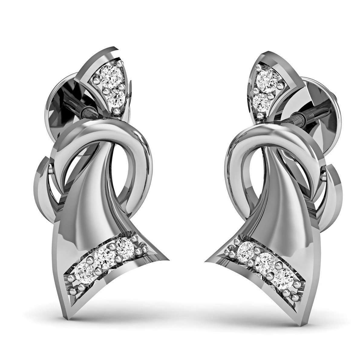 10kt White Gold Pave Stud Earrings with 10 Premium Diamonds-Diamoire Jewels-JewelStreet US