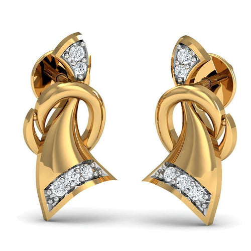 10 Round Cut Diamonds and 10kt Yellow Gold Nature Inspired Pave Earrings