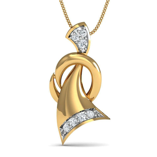 10kt Yellow Gold and 7 Round Cut Diamond Pave Pendant Inspired By Nature-Diamoire Jewels-JewelStreet US