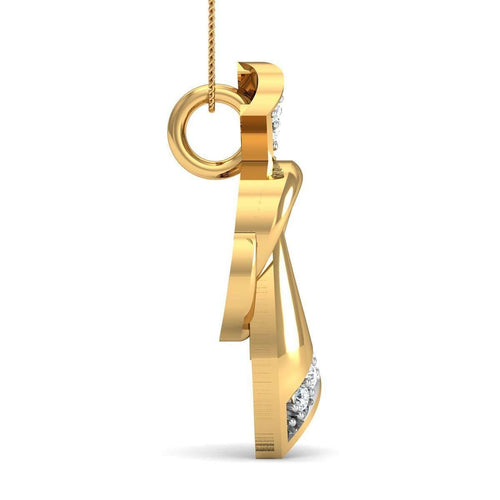 14kt Yellow Gold and 7 Round Cut Diamond Pave Pendant Inspired By Nature-Diamoire Jewels-JewelStreet US