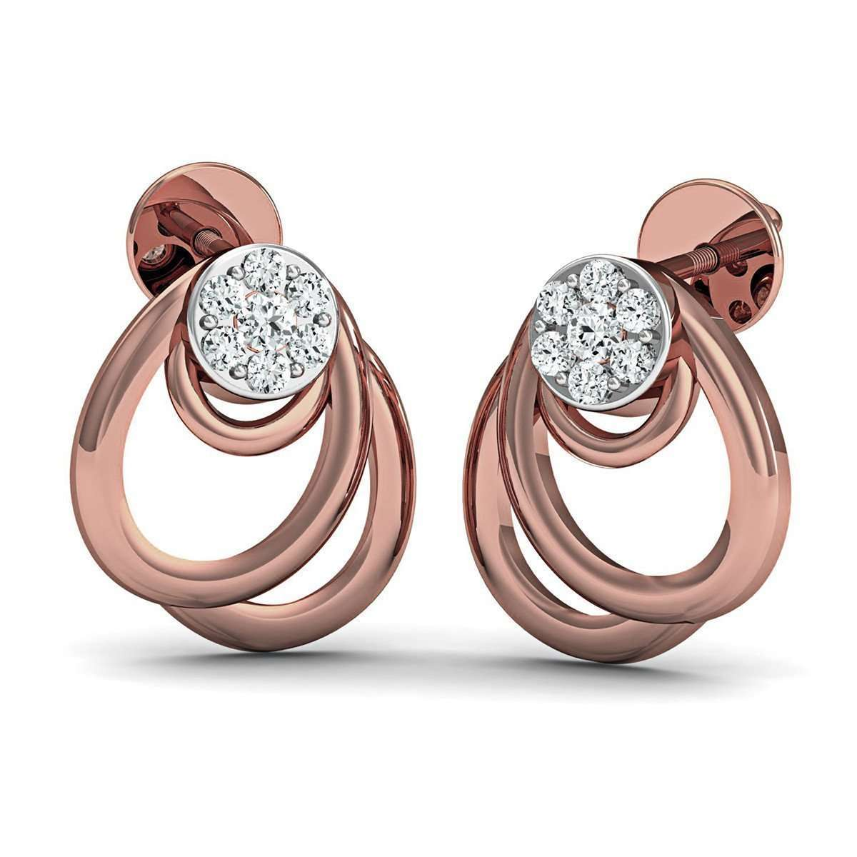10kt Rose Gold Earrings with 14 Premium Quality Diamonds Inspired by Nature-Diamoire Jewels-JewelStreet US