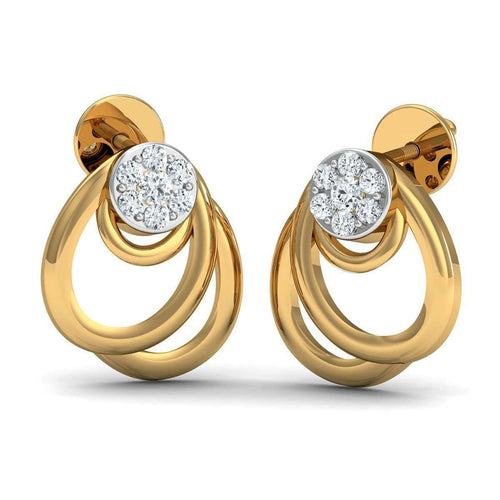 10kt Yellow Gold Nature Inspired Earrings with 14 Diamonds-Diamoire Jewels-JewelStreet US