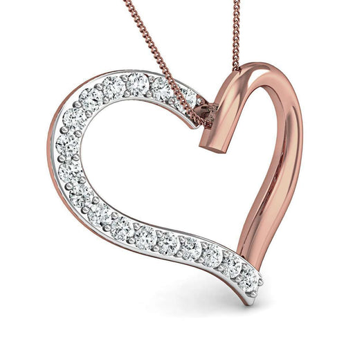 Hand-carved Heart in 18kt Rose Gold and Premium Quality  Diamonds