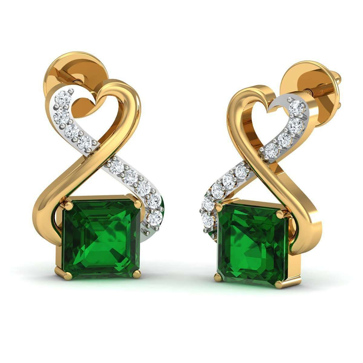 Emerald Cut Nature Inspired Brazilian Emerald and Diamond Earrings in 10kt Yellow Gold-Diamoire Jewels-JewelStreet US
