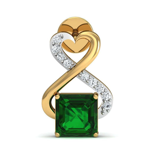 Emerald Cut Nature Inspired Brazilian Emerald and Diamond Earrings in 14kt Yellow Gold-Diamoire Jewels-JewelStreet US