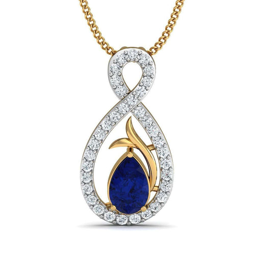 Blue Pear Cut Sapphire and Diamond Pendant in 10kt Yellow Gold-Diamoire Jewels-JewelStreet US