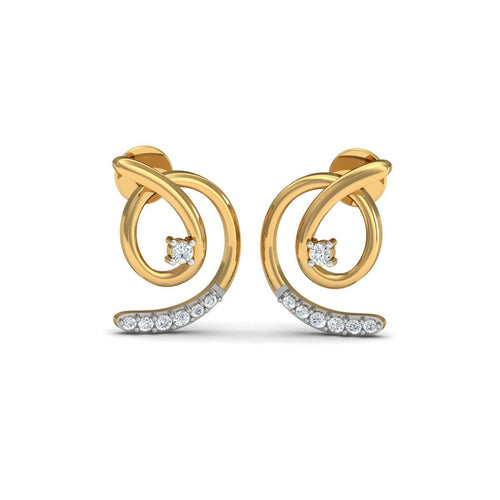 18kt Yellow Gold 0.10ct Pave Diamond Infinity Earrings V