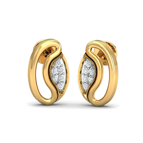18kt Yellow Gold 0.07ct Pave Diamond Infinity Earrings I