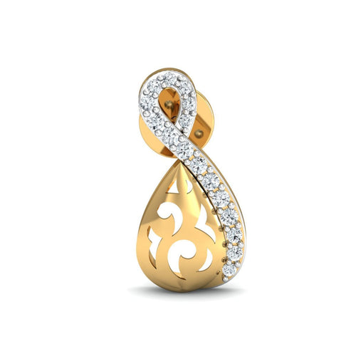 18kt Yellow Gold 0.15ct Pave Diamond Infinity Earrings II