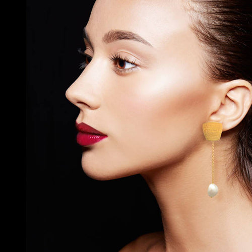 Yellow Gold Plated Patra Earrings