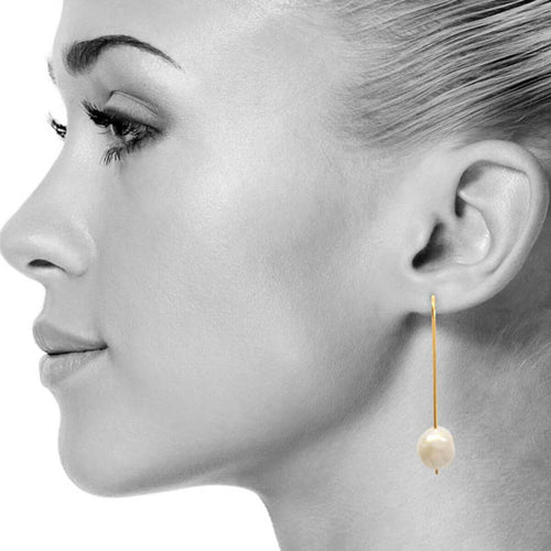 Yellow Gold Plated Pearl Drop Earrings ,[product vendor],JewelStreet