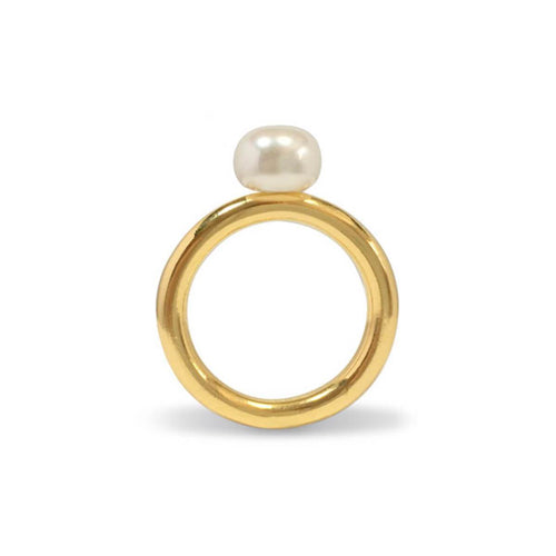 Yellow Gold Plated Pearl Ring