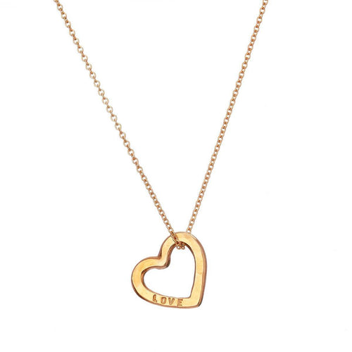 Yellow Gold Plated Personalised Love Heart Necklace