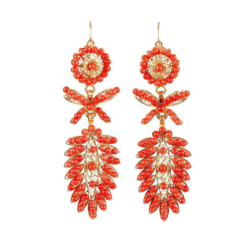 Coral Spike Earrings-Luis Mendez Artesanos-JewelStreet EU