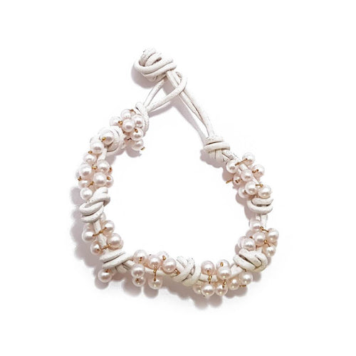 Leather Precious Pearl Bracelet