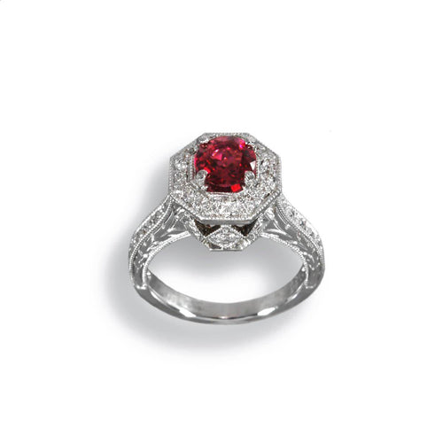 18kt White Gold Red Tourmaline Ring