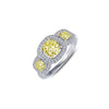 3-Stone Halo Ring With Canary Simulated Diamonds-Lafonn-JewelStreet US