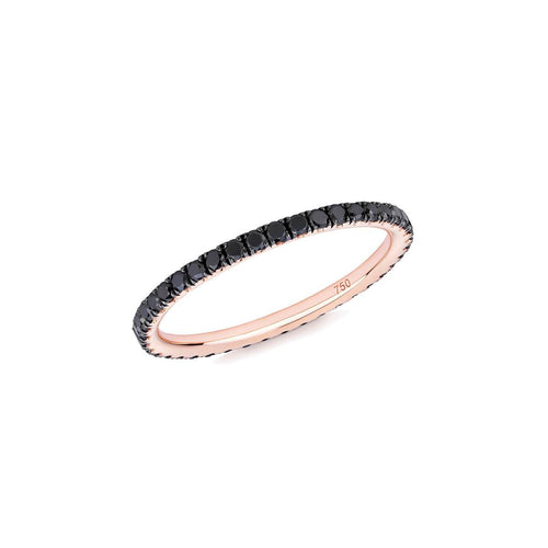 Black Diamond Full Eternity Ring In 18kt Rose Gold