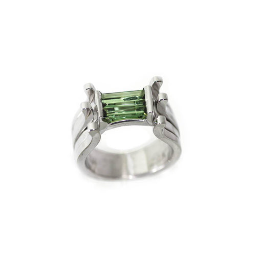 White Gold Plated Silver Tourmaline Ring ,[product vendor],JewelStreet