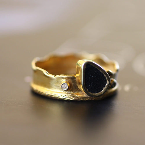 Yellow Gold Plated Silver Black Agate Ring ,[product vendor],JewelStreet