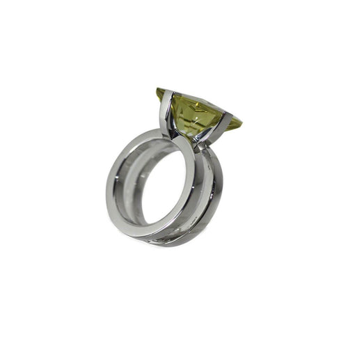 White Gold Plated Silver Lemon Quartz Ring ,[product vendor],JewelStreet
