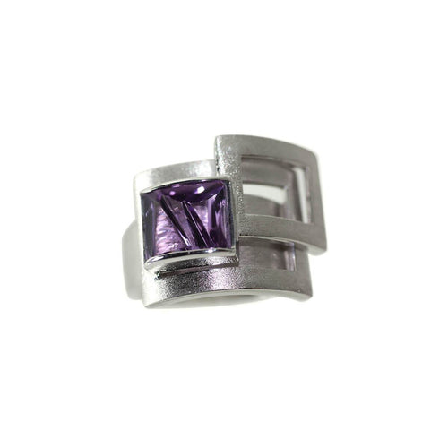 White Gold Plated Silver Square Amethyst Ring ,[product vendor],JewelStreet
