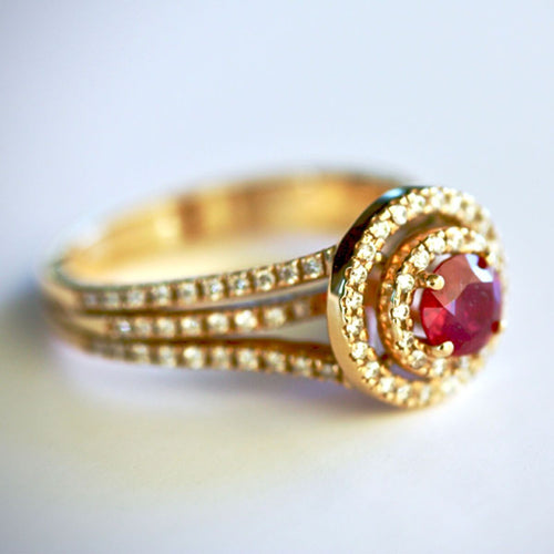 Rose Gold Ruby & Diamond Ring ,[product vendor],JewelStreet
