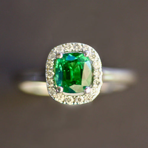 White Gold Vivid Green Tsavorite Ring With Diamonds ,[product vendor],JewelStreet