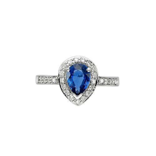 Blue Sapphire And Diamond Halo Ring-Isaac Westman-JewelStreet US