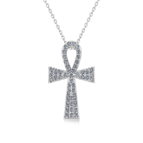 White Gold & Diamond Ankh Egyptian Cross Pendant Necklace | Allurez