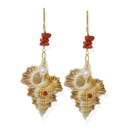 Mama Africa Coral & Pearls Shell Earrings ,[product vendor],JewelStreet