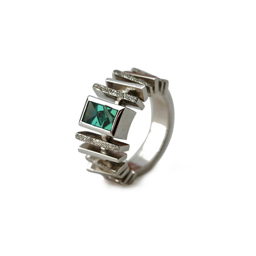 White Gold Plated Silver Handcrafted Green Tourmaline Ring ,[product vendor],JewelStreet