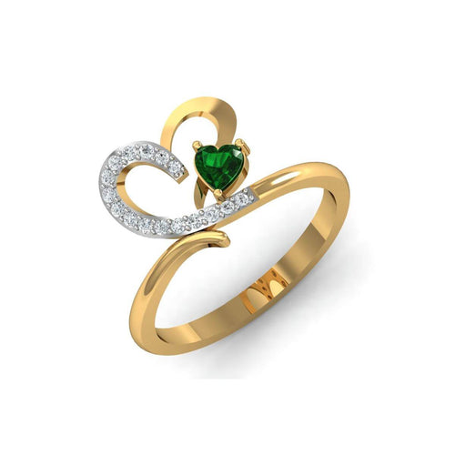 18kt Yellow Gold Pave 0.10ct Diamond Infinity Ring With Emerald