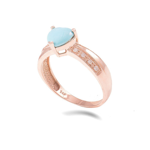 14kt Rose Gold Diamond And Turquoise Ring Heart Shaped