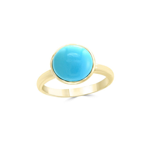 14kt Yellow Gold Turquoise Ring Round