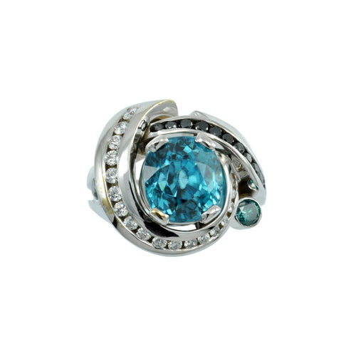 Blue Zircon Ring-Alex Gulko Custom Jewelry-JewelStreet US