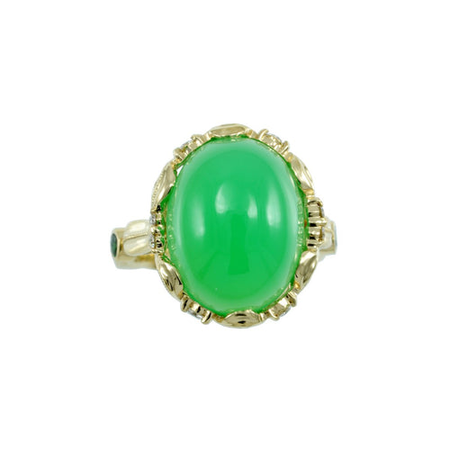 Chrysoprase Yellow Gold Ring-Alex Gulko Custom Jewelry-JewelStreet US
