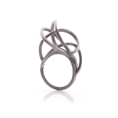 Oxidised Sterling Silver Round Tangled Rings ,[product vendor],JewelStreet