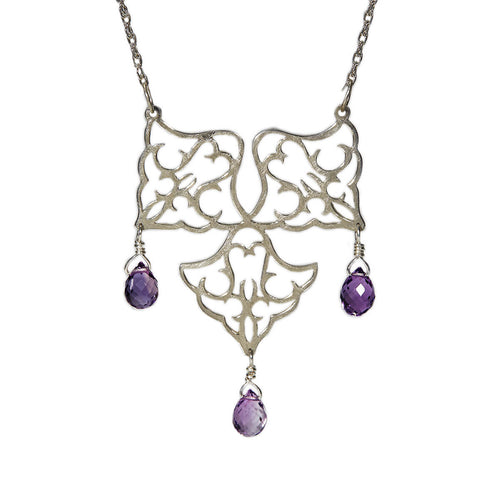Sterling Silver Radial Trio Pendant With Amethyst ,[product vendor],JewelStreet