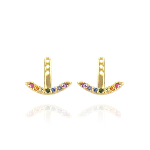 Yellow Gold Plated Rainbow Ear Jackets