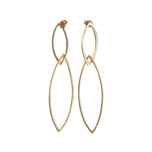 Yellow Gold Plated Rhombus Earrings ,[product vendor],JewelStreet