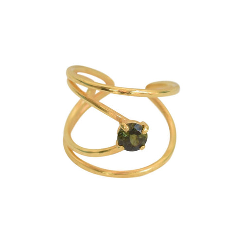 Yellow Gold Plated Rhombus Ring With Green Tourmaline ,[product vendor],JewelStreet