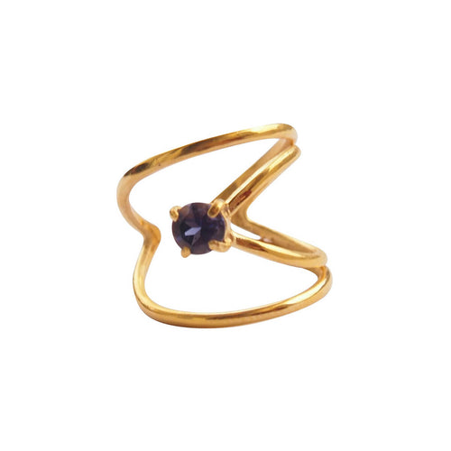 Yellow Gold Plated Rhombus Ring With Blue Iolite ,[product vendor],JewelStreet